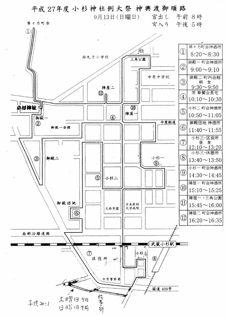 小杉神社例大祭お神輿ルート